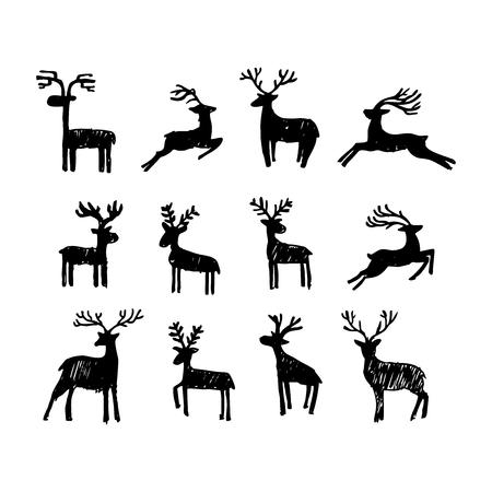 Hand drawn Christmas deer. Illusztráció