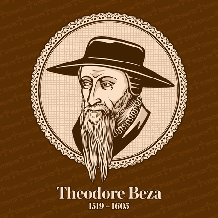 Theodore Beza (1519 - 1605) was a French Reformed Protestant. Christian figure. 일러스트