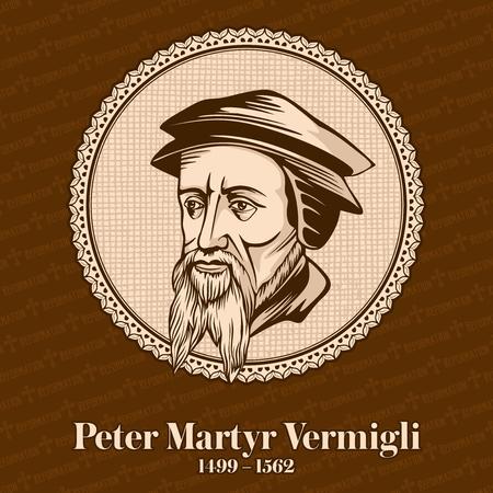 Peter Martyr Vermigli (1499 - 1562) was the Italian-born Reformed theologian. Christian figure. Stock Illustratie