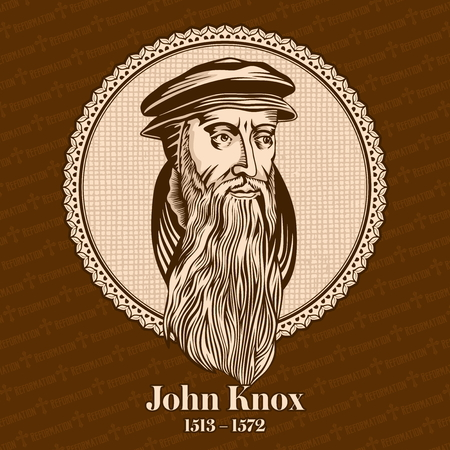 John Knox (1513 - 1572) was a Scottish minister, theologian, and writer of the country Reformation. He is the founder of the Presbyterian Church of Scotland. Christian figure. Vettoriali