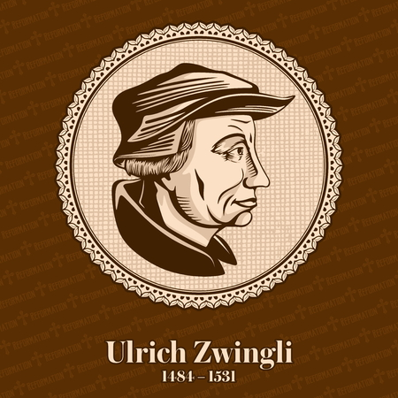 Ulrich Zwingli (1484-1531) was a leader of the Reformation in Switzerland. Christian figure. Stockfoto - 118117279