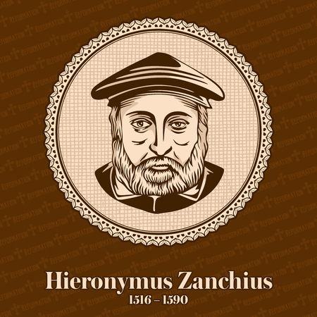 Hieronymus Zanchius (1516 - 1590) was an Italian Protestant Reformed theology during the years following John Calvins death. Christian figure. Illustration