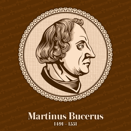 Martin Bucer (1491 - 1551) was a German Protestant reformer in Strasbourg who influenced Lutheran, Calvinist, and Anglican doctrines and practices. Christian figure. Illustration