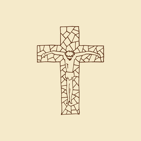 Lord Jesus on the cross. Cross drawn by hand. Mosaic style. Christian and biblical symbols. Illustration