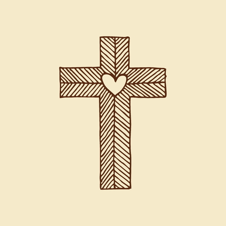 Jesus Christ with a heart drawn by hand. Christian and biblical symbols.