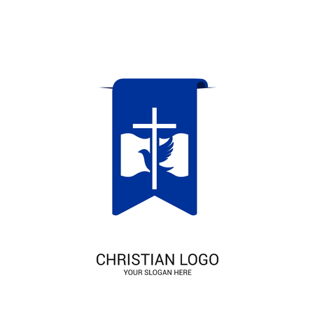 Christian church logo. Bible symbols. The Cross Book of Jesus and the Bible on the background of the bookmark.
