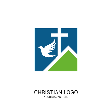 Christian church logo. Bible symbols. Christ is the dove.