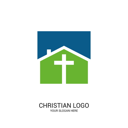 Christian church logo. Bible symbols. Cross of Jesus Christ on the background of the house. 일러스트
