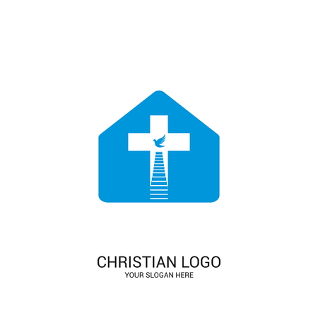 Christian church logo. Bible symbols. The Church of Christ, the cross and steps leading to God. Çizim