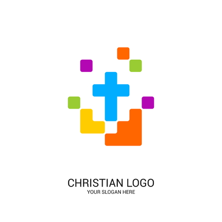 Christian church logo. Bible symbols. Cross of Jesus Christ and color elements.