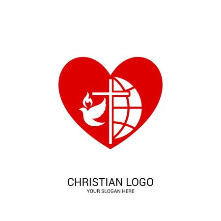 Christian church logo. Bible symbols. Globe, cross