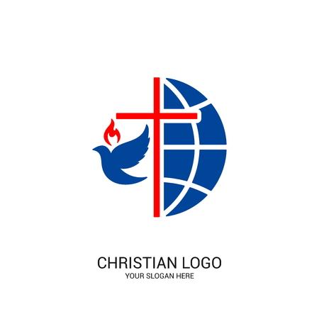 Logo kościoła chrześcijańskiego. Symbole biblijne. Kula ziemska, krzyż Jezusa Chrystusa i gołębica.