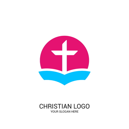 Christian church logo. Bible symbols. The Bible and the Cross of Jesus Christ. Foto de archivo - 117556850