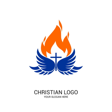 Christian church logo. Bible symbols. The Spirit of Jesus Christ, the wings of the spirit and the flame.