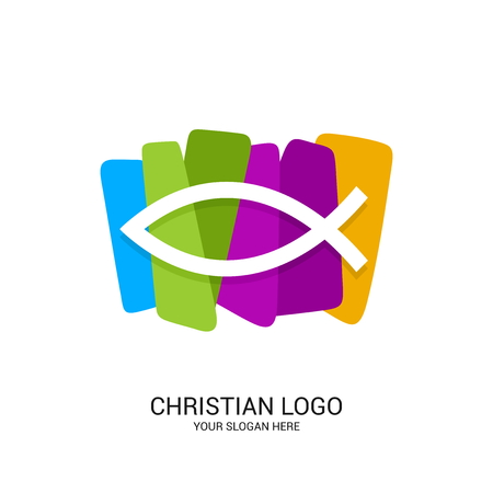 Christian church logo. Bible symbols. The fish is a symbol of Jesus Christ, in color blocks.
