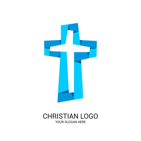 Christian church logo. Bible symbols. Cross of Jesus Christ from colored ribbons.