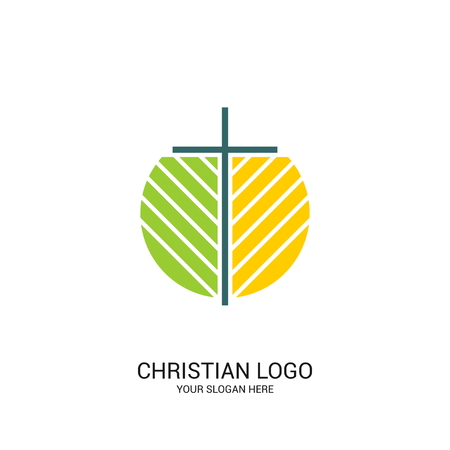 Christian church logo. Bible symbols. Cross of Jesus Christ and plant elements.