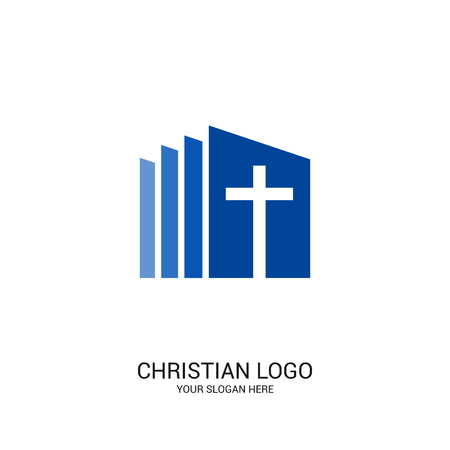 Christian church logo. Bible symbols. Cross of Jesus Christ.