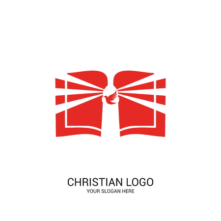Christian church logo. Bible symbols. The open Bible, Gods lighthouse and dove. Illustration