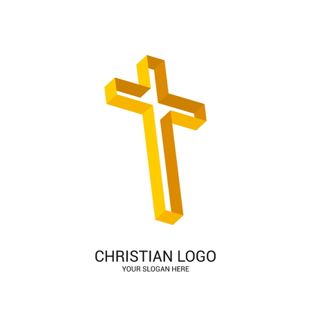 Christian church logo. Bible symbols. Cross of Jesus Christ, volumetric and turned in space