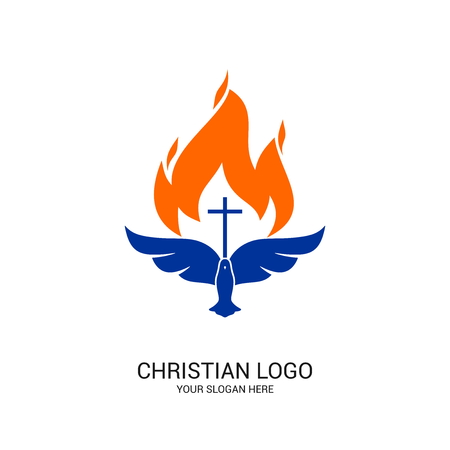 Christian church logo. Bible symbols. The Christ of the Lord and the Savior.