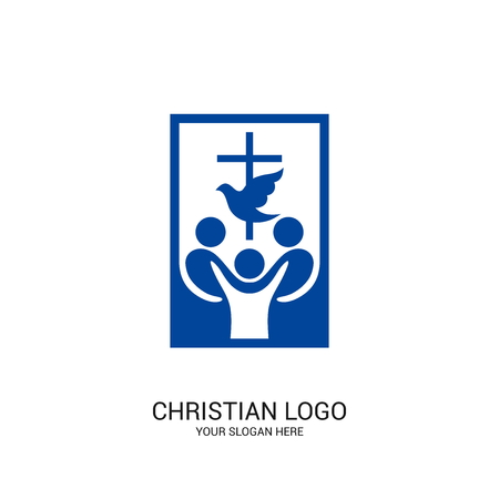 Christian church logo. Bible symbols. Community of believers in Jesus Christ.