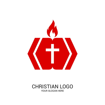 Christian church logo. Bible symbols. The Christ of the Holy Spirit.