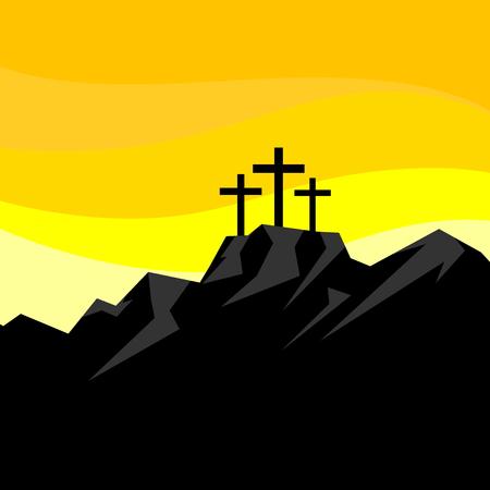 Easter illustration. Three crosses on Calvary.