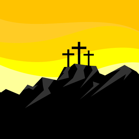 Easter illustration. Three crosses on Calvary. Illustration