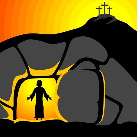 Illustrazione di Pasqua. Gesù Cristo è risorto.