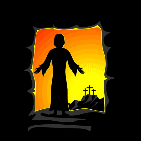 Illustration de Pâques. Jésus-Christ est ressuscité. Vecteurs