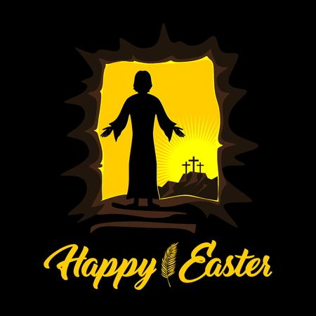 Easter illustration. Jesus Christ is risen. Vettoriali