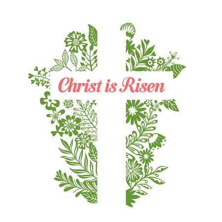 Croce di Gesù. Cristo è risorto. Illustrazione di Pasqua. Vettoriali