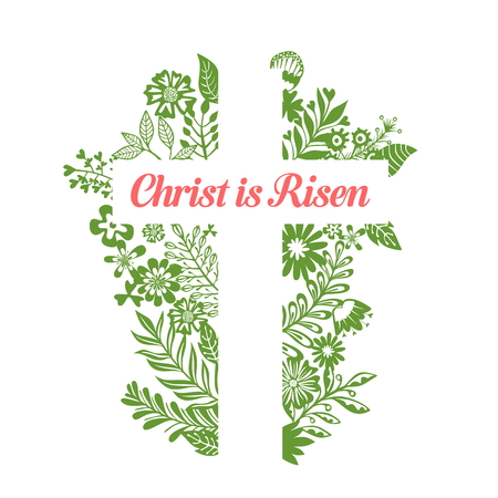 Cross of Jesus. Christ is risen. Easter illustration.
