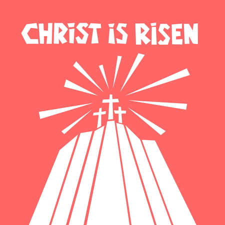 Easter illustration. Three crosses on Calvary. Ilustração