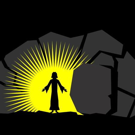 Illustrazione di Pasqua. Gesù Cristo è risorto. Vettoriali