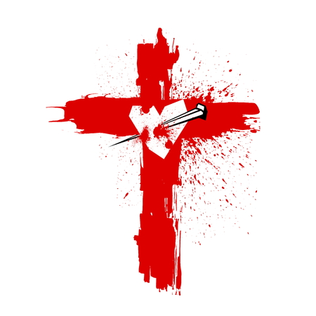 Cross of Jesus Christ. Pierced the heart of a nail. Easter illustration.