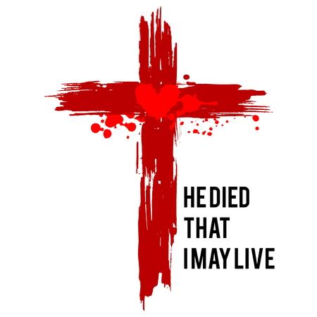 Ilustración de feliz pascua. Jesús murió para que yo viva.
