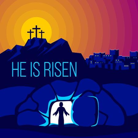 Easter illustration. Jesus Christ is risen. Ilustração Vetorial