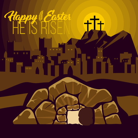 Easter illustration. Jesus Christ is risen. 矢量图像