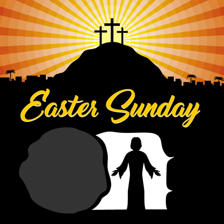 Easter illustration. Jesus Christ is risen.