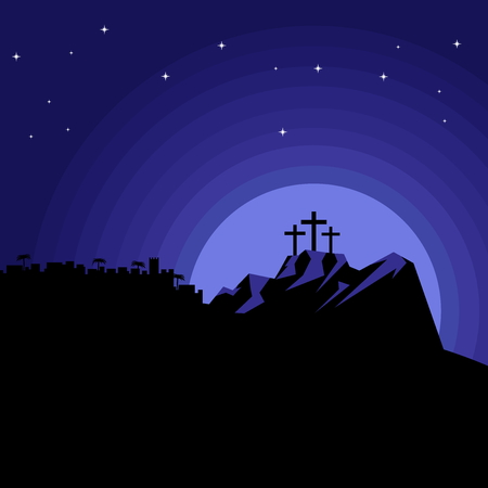 The night after the crucifixion of Jesus Christ at Calvary. Easter illustration.