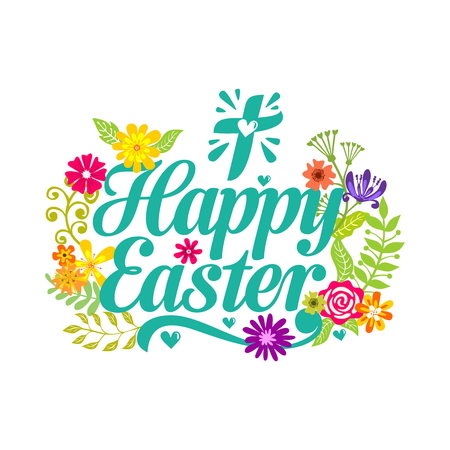 Happy easter. Lettering and graphic elements. Cross of Jesus Christ.