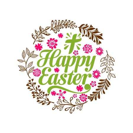 Joyeuses Pâques. Lettrage et éléments graphiques. Croix de Jésus-Christ.