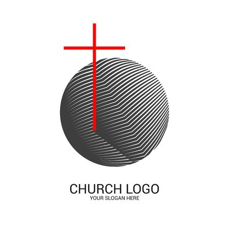Logotipo de la iglesia y símbolos cristianos. Cruz del Salvador Jesucristo y símbolos abstractos geométricos.