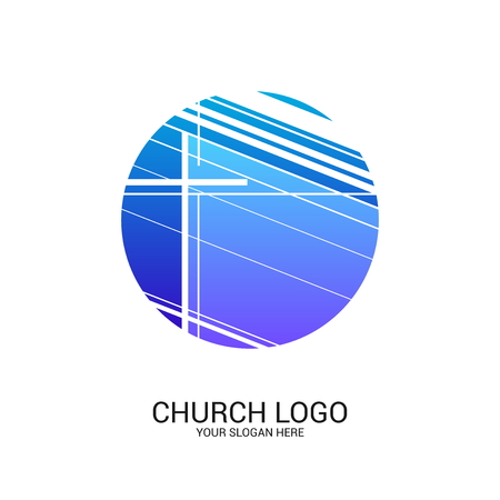 Church logo and christian symbols. Cross of the Savior Jesus Christ and geometric abstract symbols. 스톡 콘텐츠 - 124736558