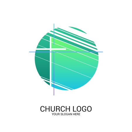 Church logo and christian symbols. Cross of the Savior Jesus Christ and geometric abstract symbols.