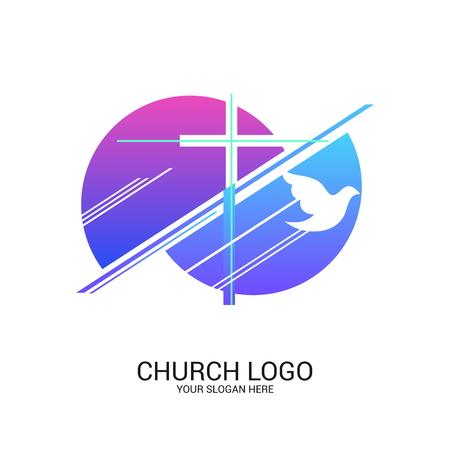 Logo della Chiesa e simboli cristiani. Croce del Salvatore Gesù Cristo e simboli astratti geometrici.