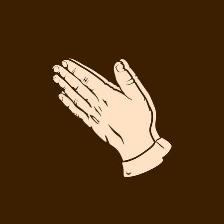 Silhouette of praying hands. Man prays and turns to God.