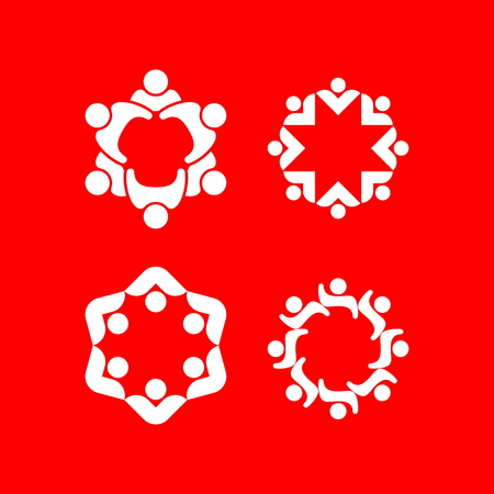 Set of logos depicting unity, community, help and support.